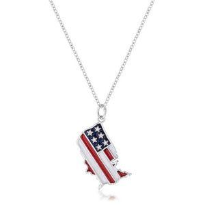 Jewelry - .015 Ct Patriotic U.S. Map Necklace